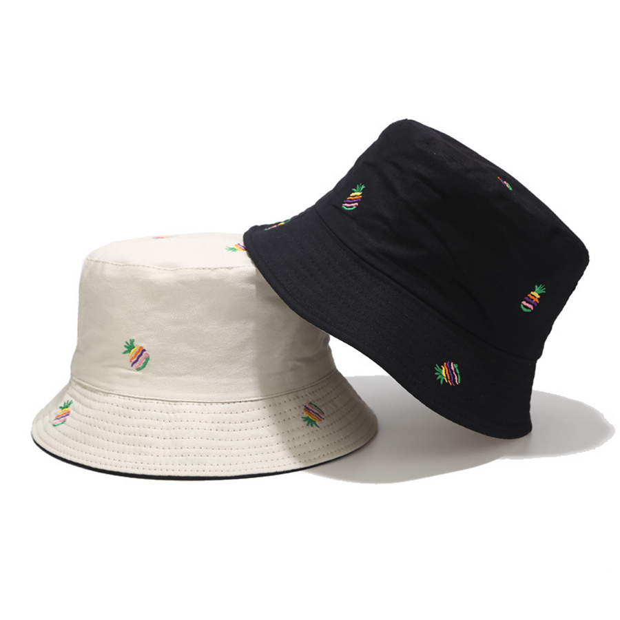 Brand New Pineapple Embroidery Bucket Hat Unisex Double-sided Fisherman Hats Men Women Outdoor Sun Visor Travel Pot Hats
