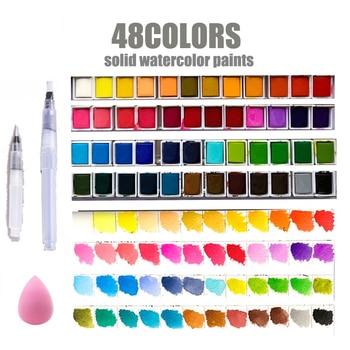 48colors Solid Pigment Watercolor Paints Set With Water Color Portable Brush Pen Professional Painting Art Supplies no box