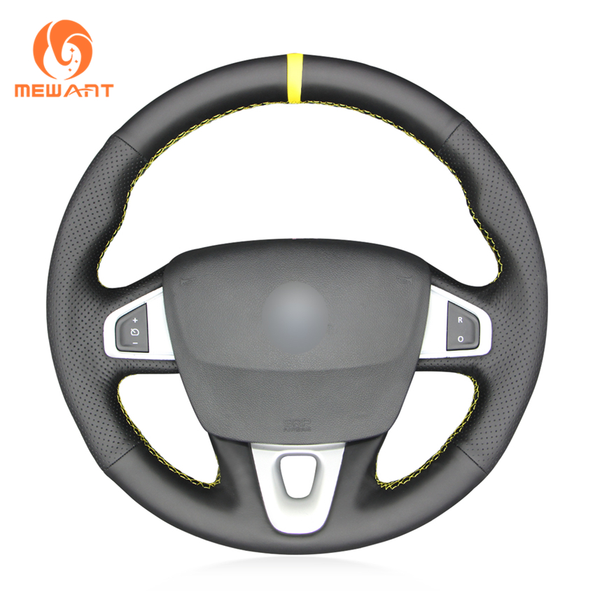 MEWANT Hand Sewing Black Genuine Leather Car Steering Wheel Cover for Renault Megane 3 (Coupe) RS 2010-2016