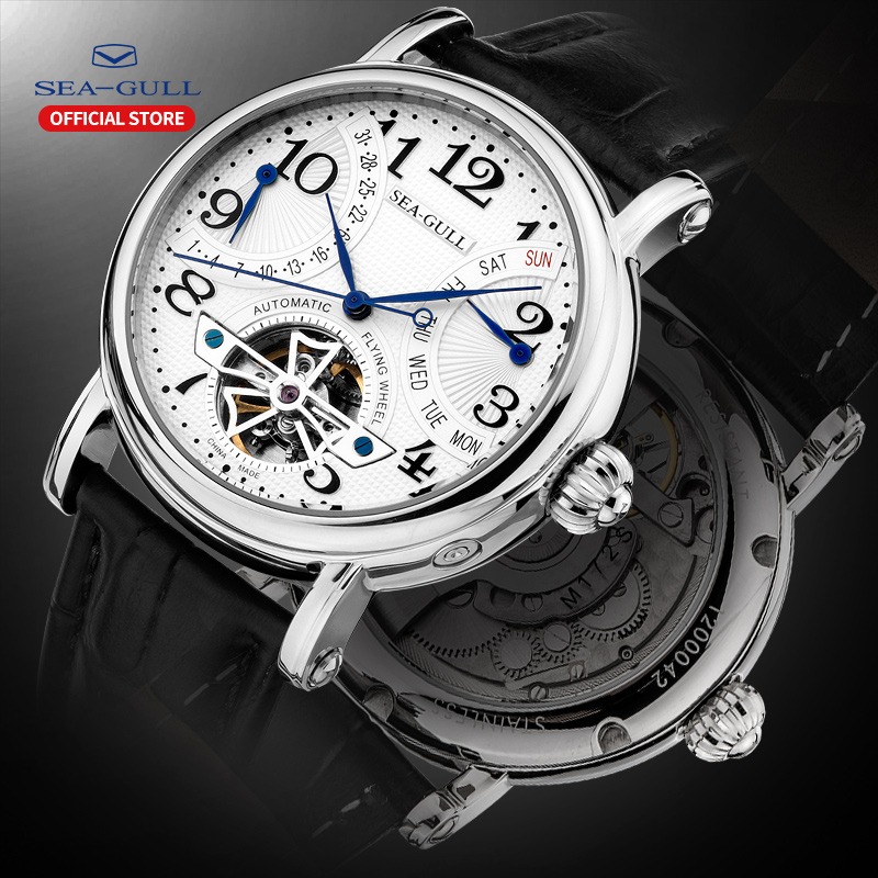 Seagull Business Watches Mens Mechanical Wristwatches Week Calendar 50m Waterproof Leather Male Bracelet Clasp Watch M171SMechanical Watches   -