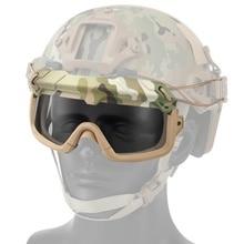 Тактические Военные страйкбольные охотничьи очки, очки для стрельбы, мотоциклетные ветрозащитные очки Wargame, шлем, очки для пейнтбола