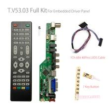 T.V53.03 Универсальный светодиодный контроллер для ЖК телевизора, плата драйвера для ТВ/ПК/VGA/HDMI/USB + IR + 7 кнопок + 1ch 6 Bit 40Pins LVDS русский RD8503.03