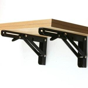 Image 5 - 2PCS,8  20 Inch Length Triangle Folding Angle Bracket Black Adjustable Wall Mounted Durable Bearing Shelf Bracket Table Bench