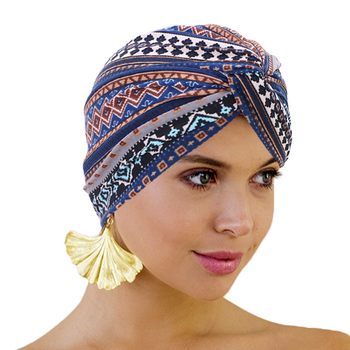 Trendy Bohemia forehead cross turban hat cotton print Muslim women head scarf inner caps for hijab arab wrap cap - discount item  39% OFF Muslim Fashion