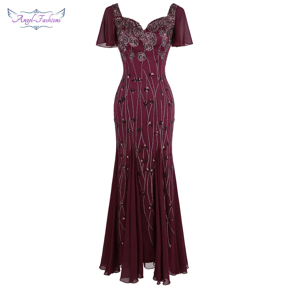 Angel-fashionsVrouwen Party Gown Kapmouwtjes Queen Anne Patroon Sequin Lange Bodycon Elegante Chiffon Avondjurk Bourgondië 468