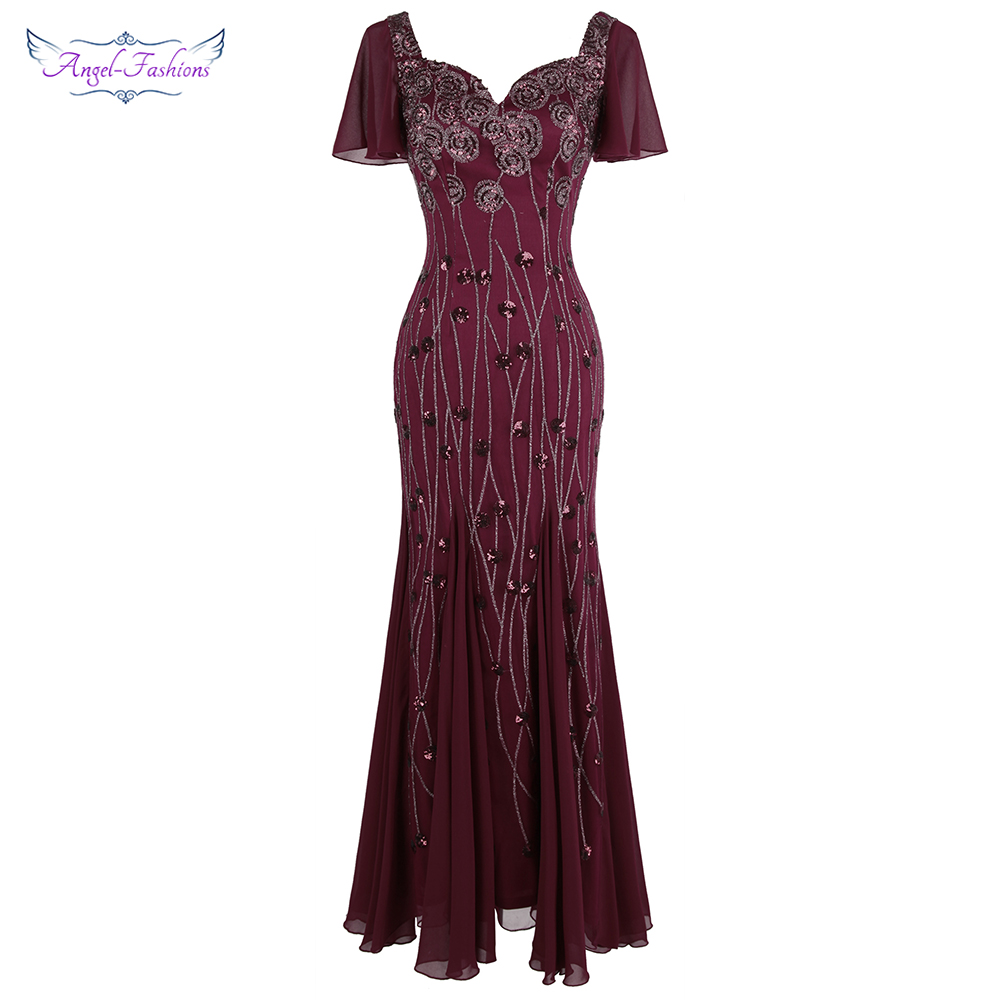 Angel-fashions Women's Party Gown Cap Sleeves Queen Anne Pattern Sequin Long Bodycon Elegant Chiffon Evening Dress Burgundy 468