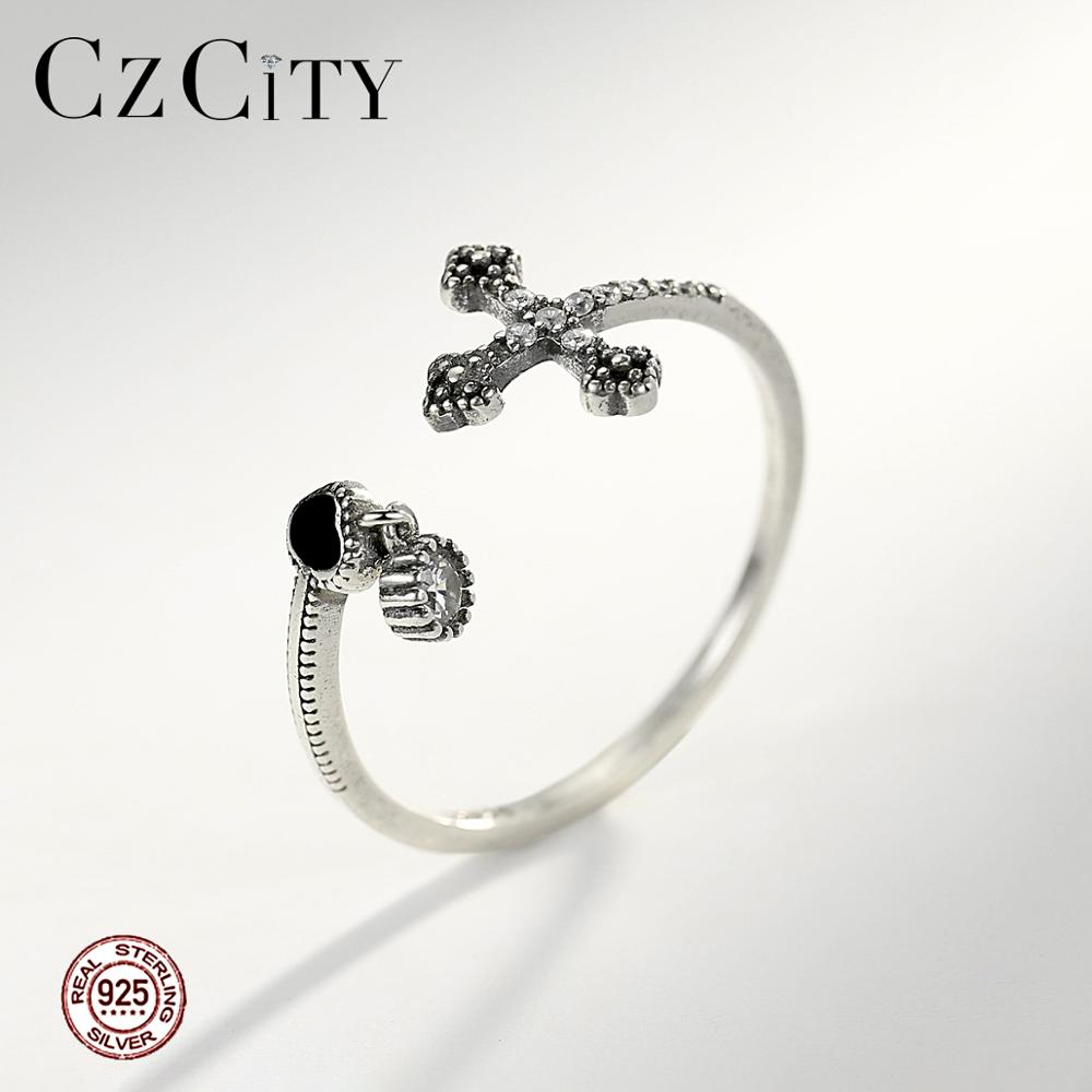 CZCITY 925 Sterling Silver Cross & Heart Resizeable Thin Rings For Women Girls Party Popular Open Rings Fine Jewelry Gift SR0231