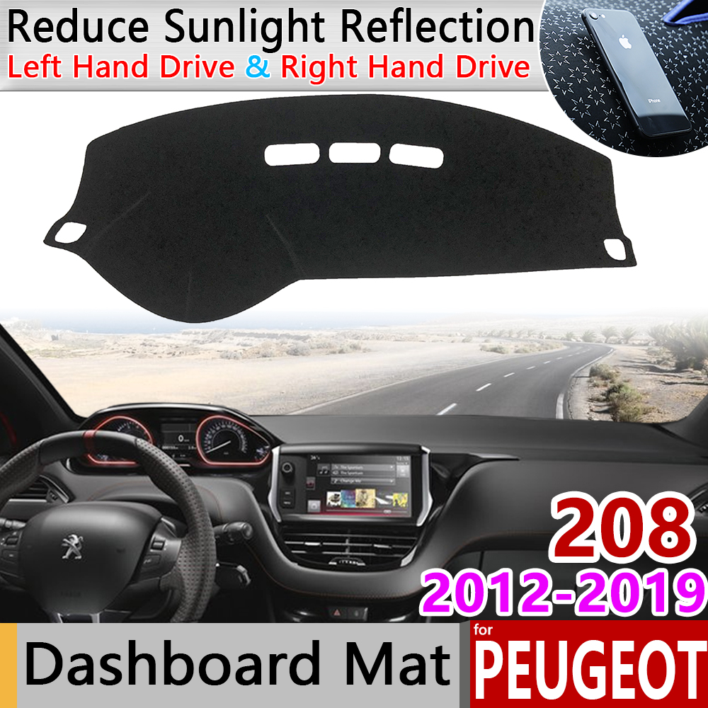 for Peugeot 208 2012 2019 Anti-Slip Mat Dashboard Cover Pad Sunshade Dashmat Protect Carpet Accessories Active Allure GTI 2015