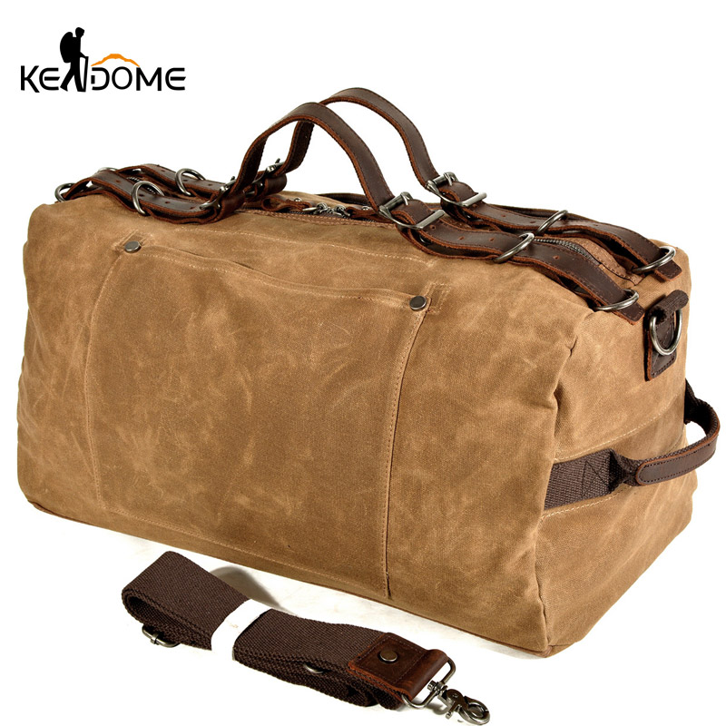 Men Canvas Gym Bag Water Repellent Travel Handbag Luggage Bags Retro Training Fitness Bags Shoulder Tas Sac De Sporttas XA233D