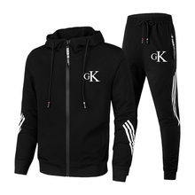 2021 new men's zipper hoodie suit football uniform zipper hoodie jacket + pants sweatpants track suit casual wear sports suit