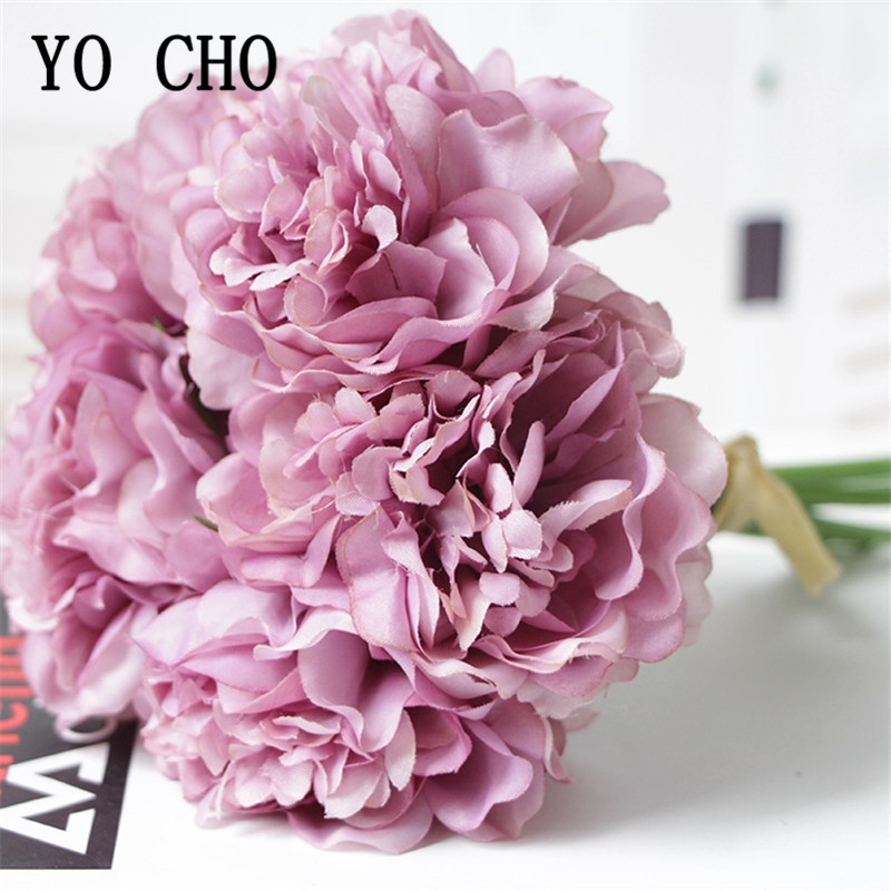 YO CHO Wedding Bouquet 5 Heads Silk Peony Hydrangea Artificial Flower Wedding Bridesmaid Fake Hydrangea Purple Home Party Decor