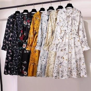 Women Casual Summer Dress Lady Korean Style Vintage Floral Printed Chiffon Shirt Dress Long Sleeve Bow Midi Summer Dress Vestido 1