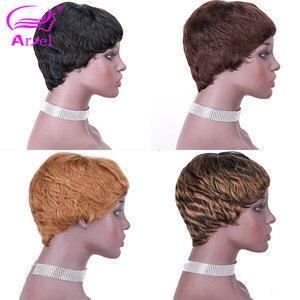 Image 1 - 27# Short Cut Straight Hair Wig Peruvian Remy Human Hair Full Wigs For Black Women F127# 4# 2# Brown Cheap Hair With Bangs Wig