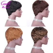 Perruque complète péruvienne Remy lisse coupe courte avec frange, cheveux humains, brun, 27 # F127 #4 #2 #, pour femmes noires