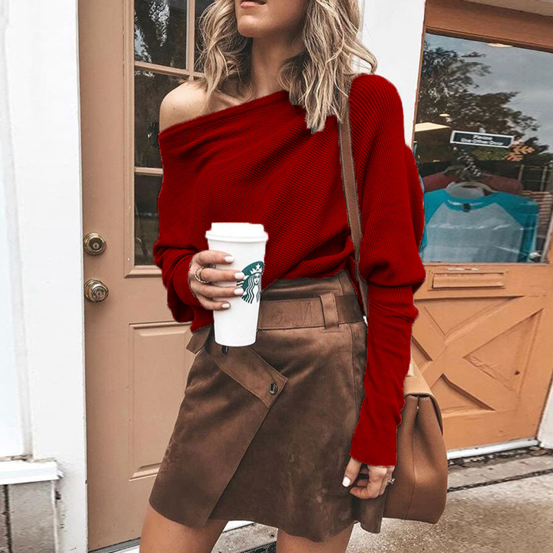2019 Fashion Knit Shirt Woman Autumn Spring Long Sleeve Pullover Tops Thin Clothes Solid White Red Tees thumbnail
