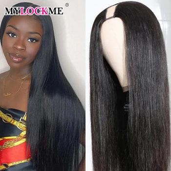 Prosto półperuka brazylijski Remy włosy środkowa U częściowo koronka peruki długie i krótkie peruki dla czarnych kobiet bezklejowe koronkowe peruki MYLOCKME Hair tanie i dobre opinie Proste CN (pochodzenie) Średnia wielkość Średni brąz Ciemniejszy kolor tylko Elastyczne koronki Brazylijski włosy