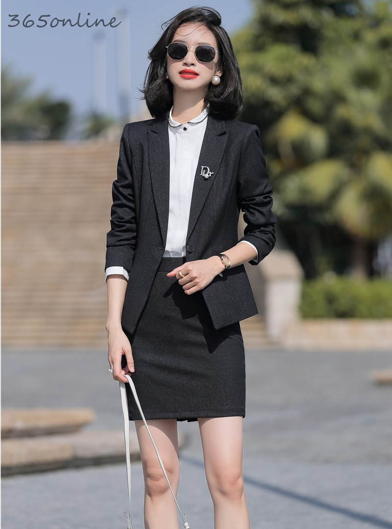 High Quality Fabric Formal Women Business Suits With Skirt And Jackets Coat Office Ladies Professional Blazers Set OL Styles
