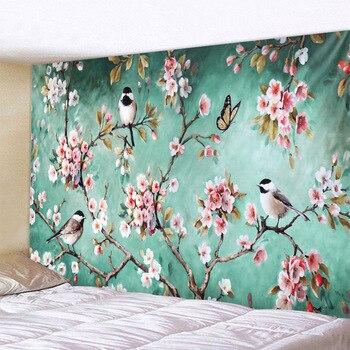 Wandteppich mit Meisen und Blüten