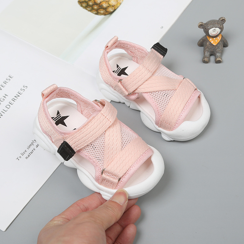 Claladoudou 12-16CM Kids Sandals Mesh Breathable Baby Girls Hollow Pure Sandals Closed Toe Infant Party Soft Flats Walkers | Happy Baby Mama