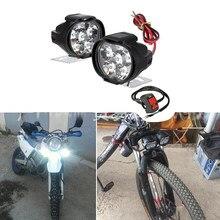 Faro LED Universal para motocicleta, montaje del proyector, interruptor de Faro, para mopa, scooter, 2 uds.