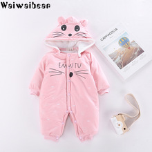 Winter Newborn Rompers Baby Girls Boys Cotton Infant Hooded Warm Overalls Clothes Kids High Quality Cartoon Jumpsuit Outerwear kids winter overalls for girls christmas 2017newborn clothes infant cartoon baby boys hooded rompers warm cotton baby snow suits