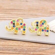 Neue Art Und Weise Nette Gold Gefüllt Elefanten Stud Ohrringe für Frauen Regenbogen Erklärung Ohrringe Charme Kupfer CZ Stein Schmuck Geschenk