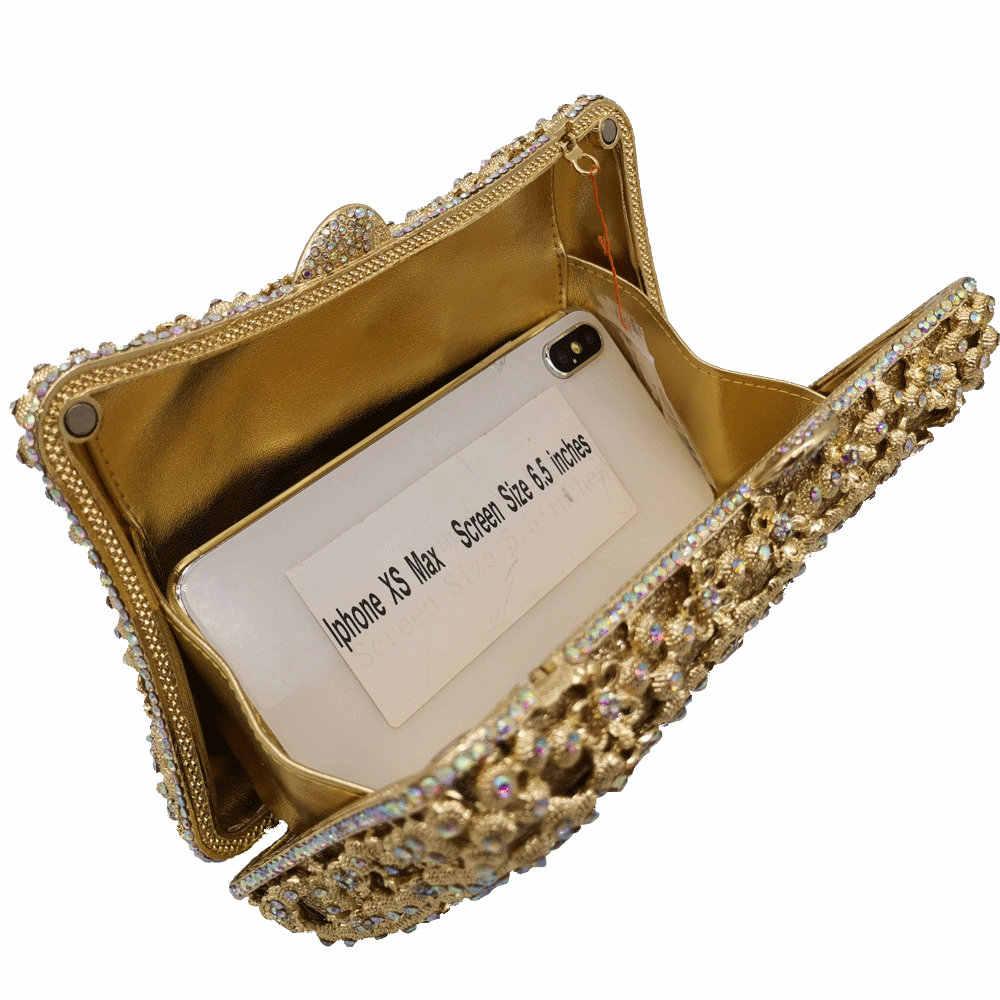 Boutique De FGG элегантные женские золотые вечерние клатчи с цветами, сумка для невесты, металлические кошельки и сумки, Свадебная вечерняя сумка для ужина
