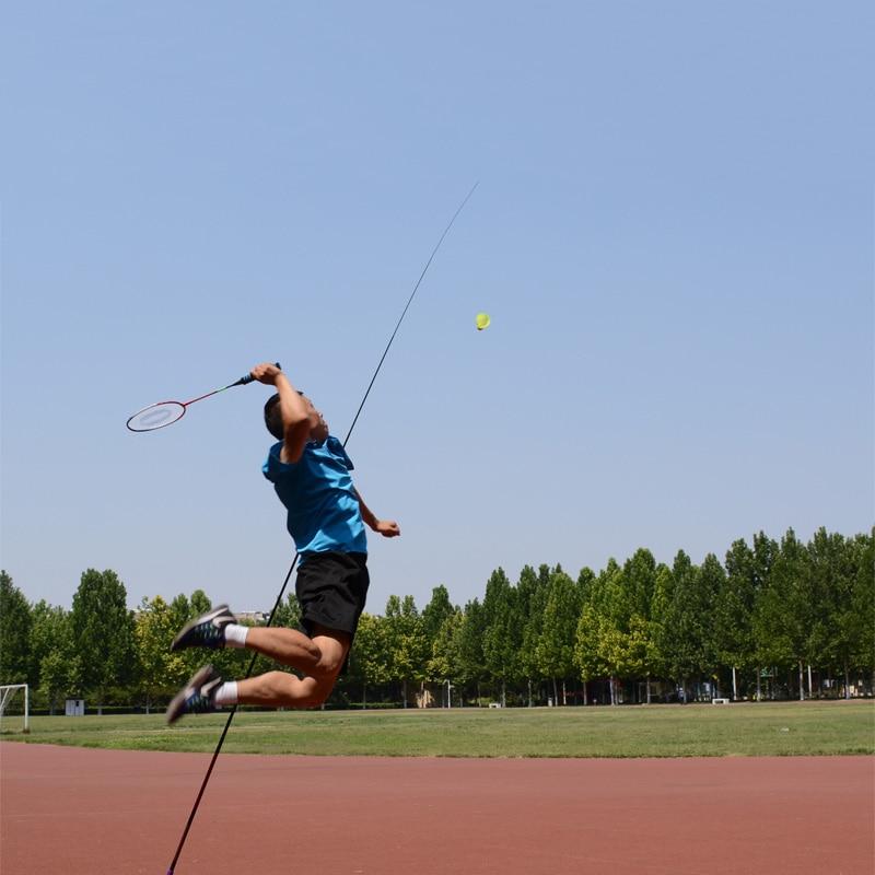 Badminton Trainer Portable Telescopic Elastic Adjustable Self-Study Rebound Power Base Practice Training Device...