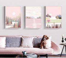 Картина на холсте с розовым лесным пейзажем настенный постер