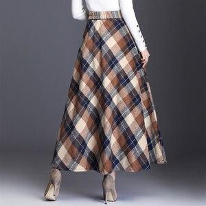 Image 4 - HAYBLST marka etek kadın 2019 sonbahar kış artı Size3XL zarif kore tarzı moda ekose uzun bel uzun giyim kalınlaşma