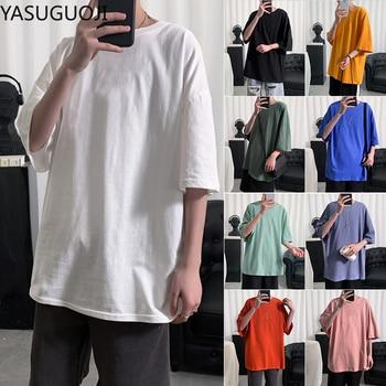 YASUGUOJI Plain Oversized T Shirt Men Bodybuilding and Fitness Loose Casual Lifestyle Wear T-shirt Male Streetwear Hip-Hop Tops 2