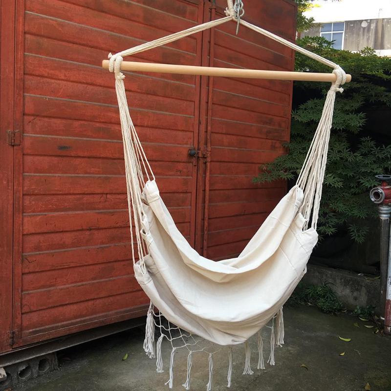 Image 5 - Intérieur extérieur glands hamac jardin Patio blanc coton balançoire chaise chambre romantique lit suspenduHamacs   -
