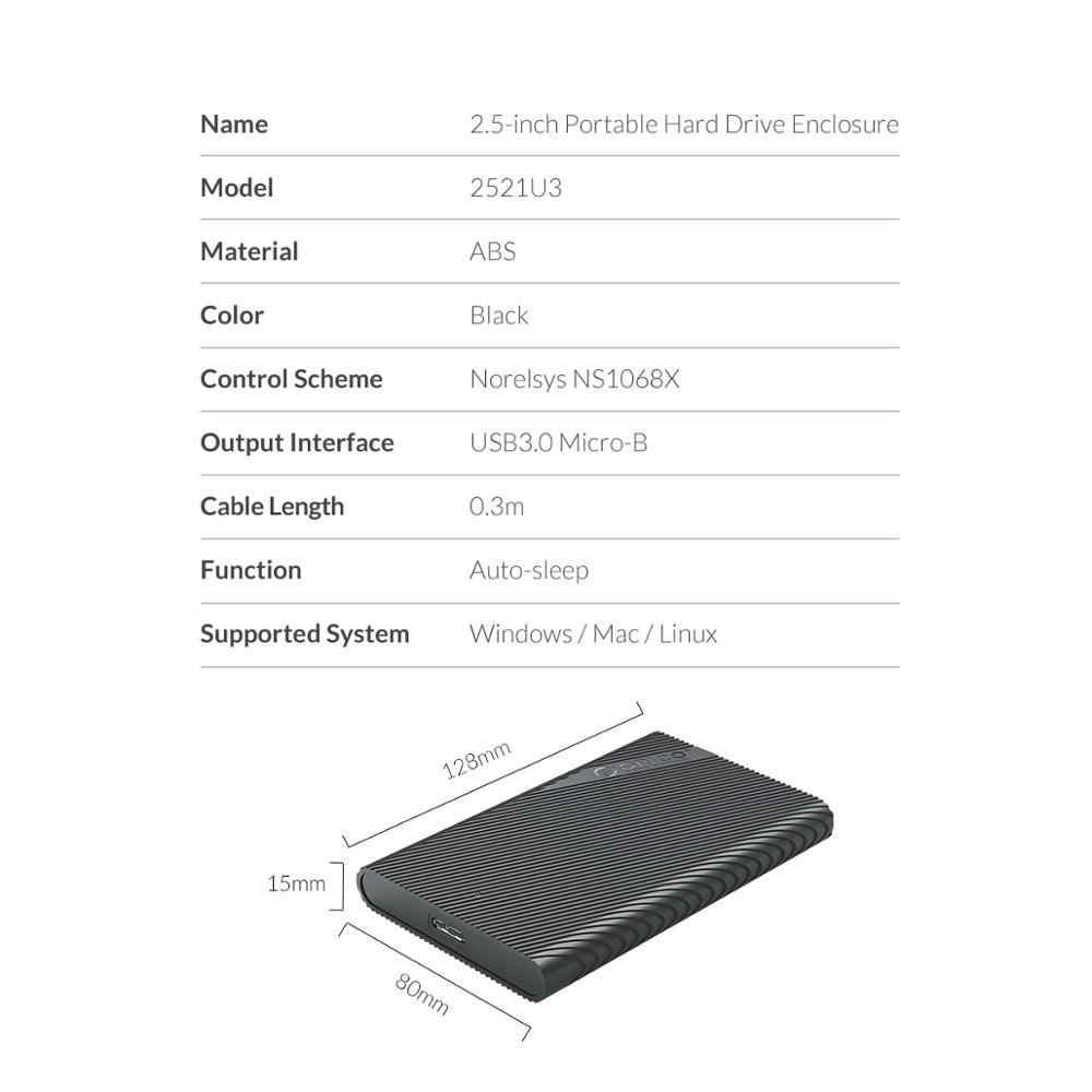 Orico usb3.0 hdd ssd adaptador 2.5 polegada externo hdd caso 5 gbps hdd gabinete com função uasp sono automático