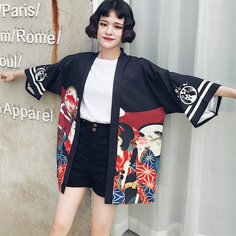 female Kimono cardigan shirt harajuku kawaii style Kimonos woman 2020 blouse obi haori Japanese streetwear