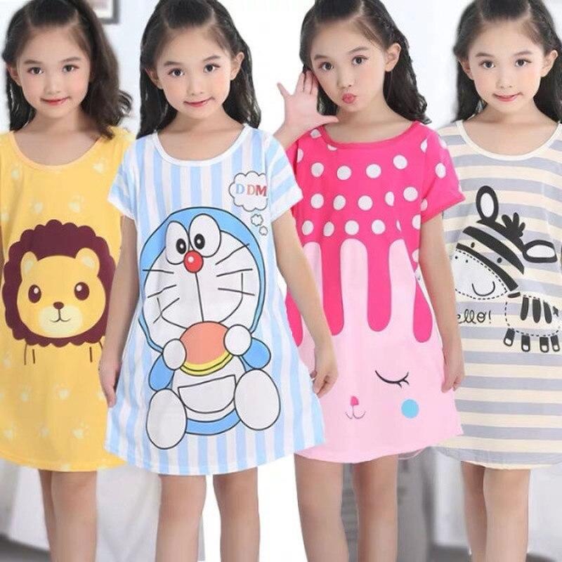 Летняя ночная рубашка с коротким рукавом для девочек, Милая Ночная рубашка для девочек, ночные рубашки принцессы с мультяшным рисунком, дет...