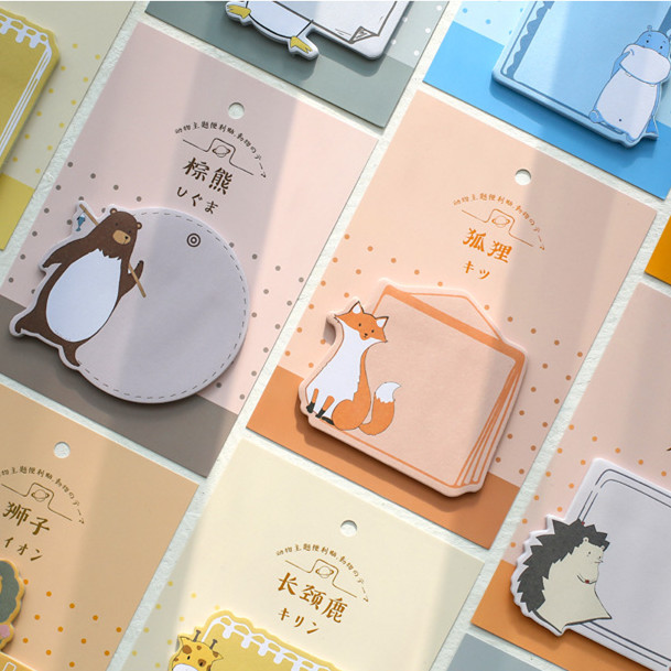 30 Sheets Lovely Animals Sticky Notes Cute Cartoon Kawaii Sticky Notes Planner Stickers Paper Sticker Memo Pad