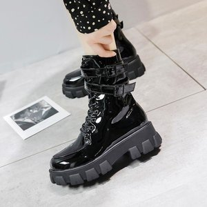 Boots Martin 2020 New Short Boots Street Style Thin Boots Thick-soled Bright Leather Shoes Patent Leather Martin Boots