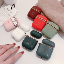 NEW Luxury Love heart plating TPU Case For Airpods Earphone Cover Cases For AirPods 1 2 Ear