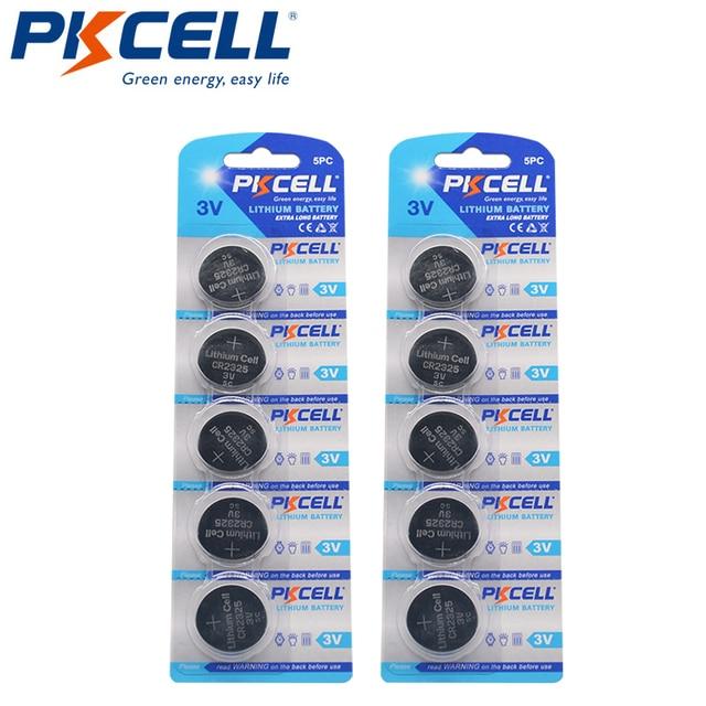 10Pcs PKCELL CR2325 3V Batterie BR2325 ECR2325 CR 2325 Lithium Knopfzellen Für Fernbedienungen Herz Rate monitor