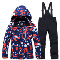 boys and girls Children Snow Suit Outdoor ski clothing Waterproof windproof Warm Costume winter Snowboarding jacket + bib pant