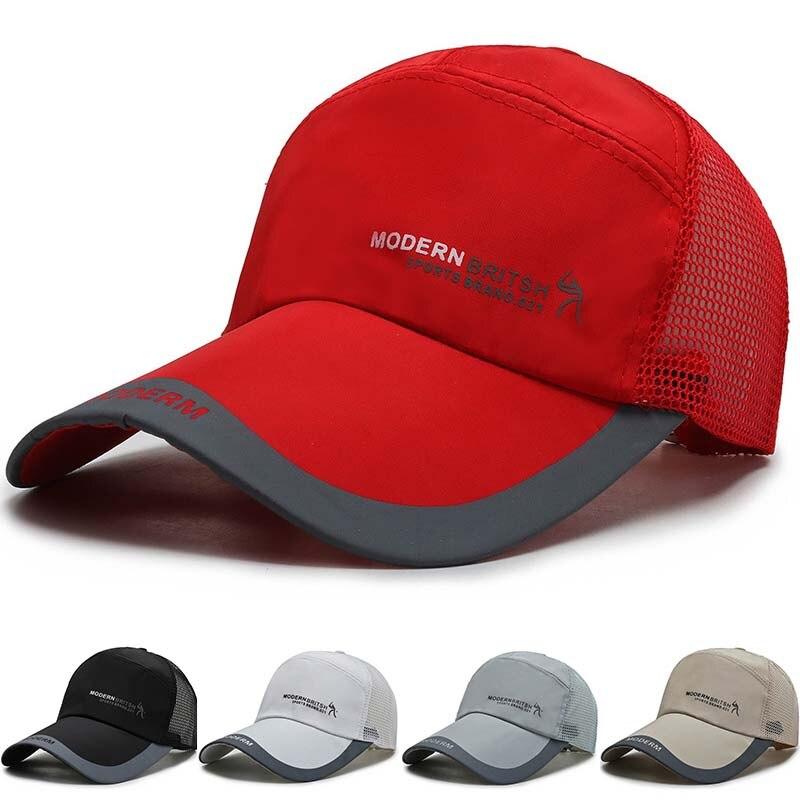 Gorra de béisbol de malla de algodón para deporte al aire libre, transpirable, a la moda, protector solar Simple, gorra de lengua de pato, venta al por mayor