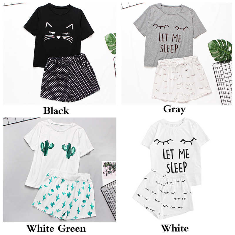 여자 Homewear 귀여운 만화 인쇄 잠옷 세트 캐주얼 반소매 티셔츠 잠옷 Nightwear 세트 여름 Pyjama 여성용 세트