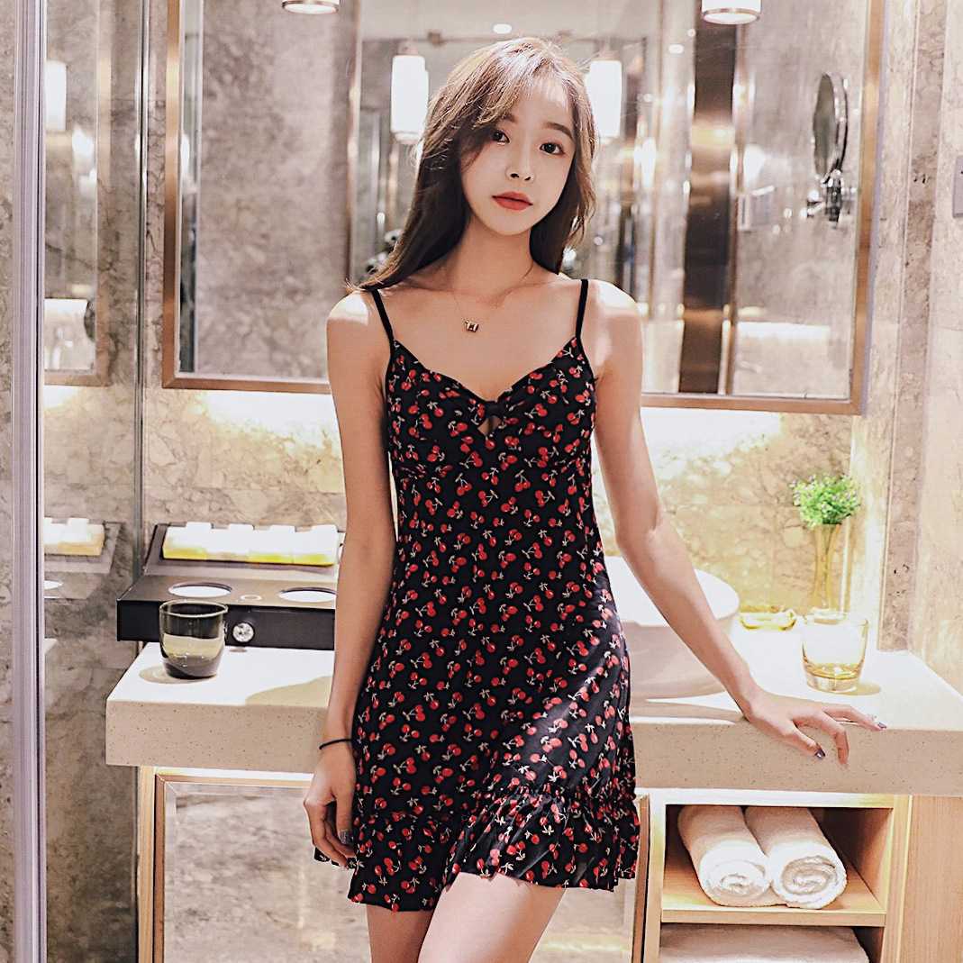 Summer New Products Cool And Refreshing Camisole-WOMEN'S Pajamas Comfortable Sweet Cherry Viscose Homewear Set