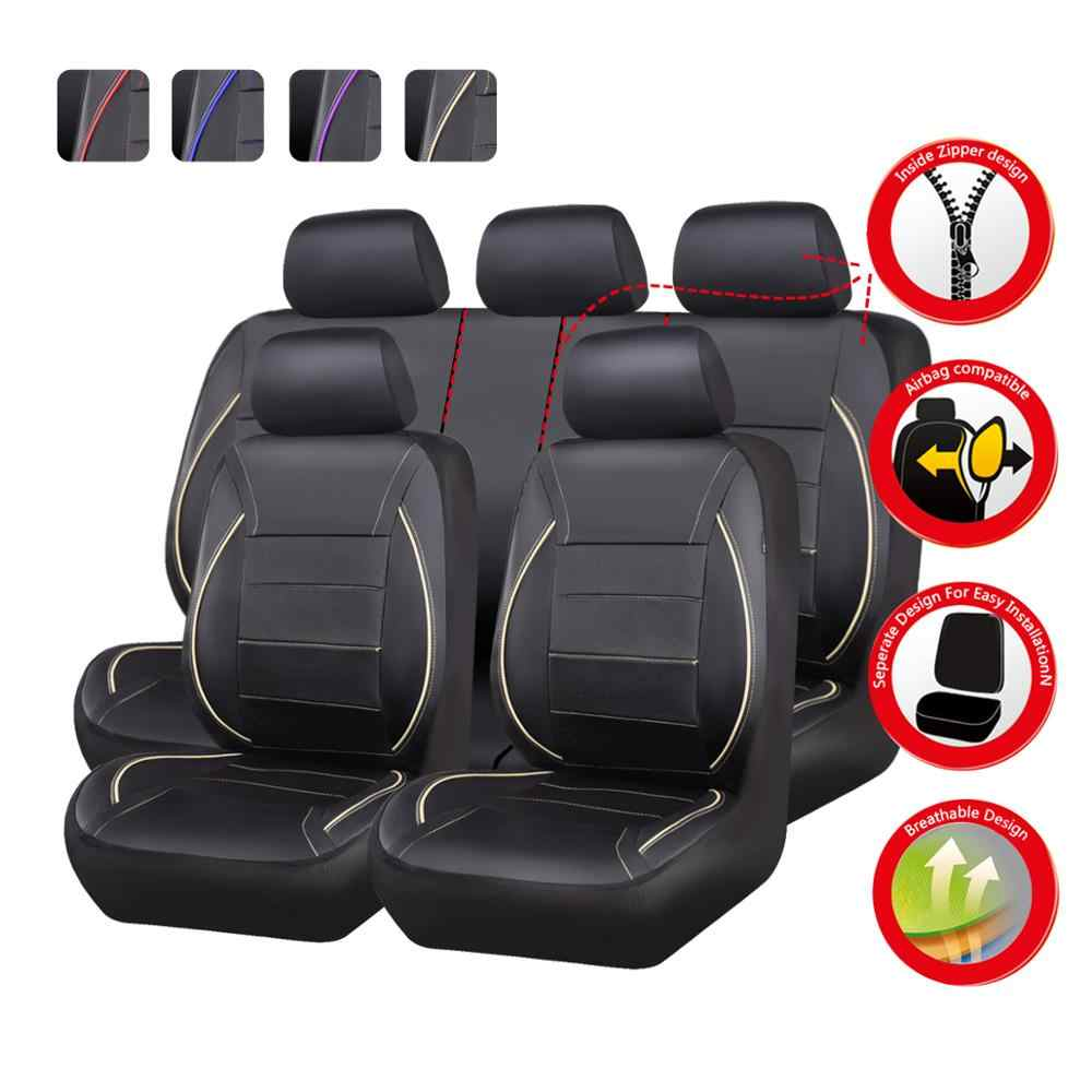 PU Leather Seat Covers Universal Fit Full Set For Auto Car SUV Blue w// Gift