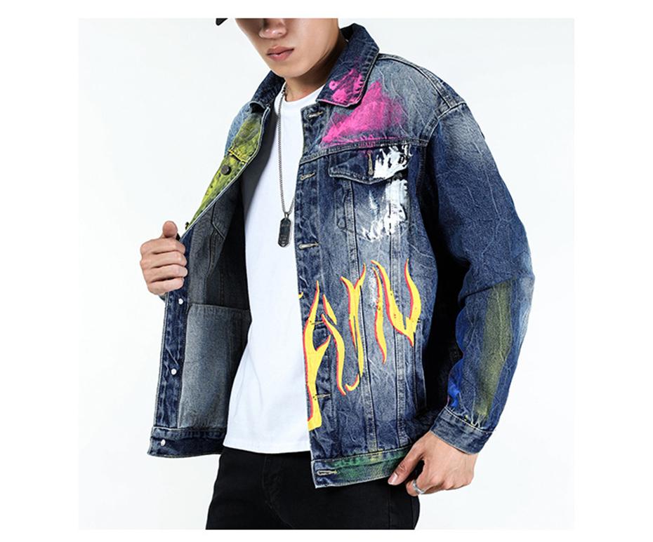 Men Graffiti Print Denim Jacket