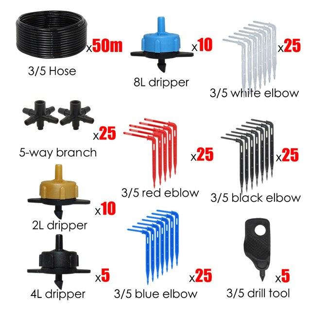 MUCIAKIE système dirrigation goutte à coude coloré   Drippers de coude colorés 10-80M 3/5MM, Micro serre de balcon Patio Kits darrosage goutte à goutte
