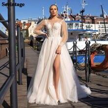 Женское свадебное платье из тюля бежевое кружевное с рукавами