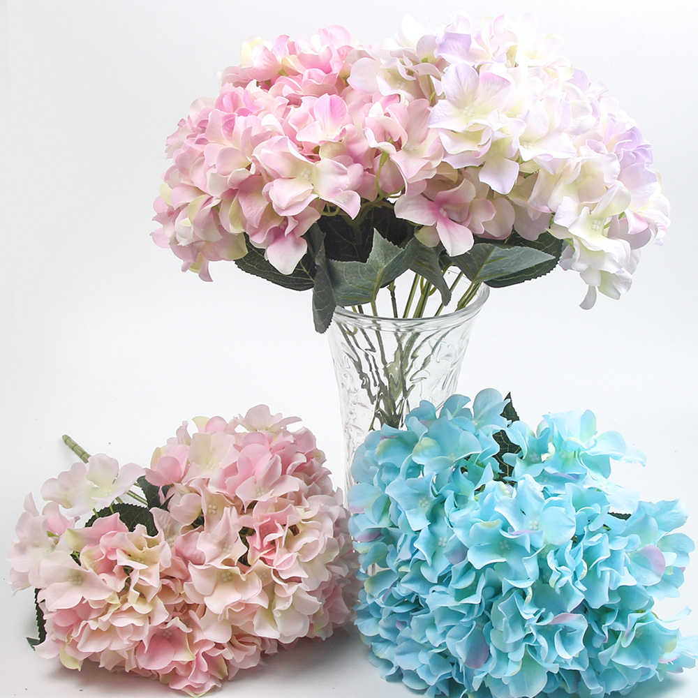 5 Heads Hydrangea Flowers Artificial Bouquet Silk Blooming Fake Peony Wedding Party Home Decoration Craft Artificial Flowers