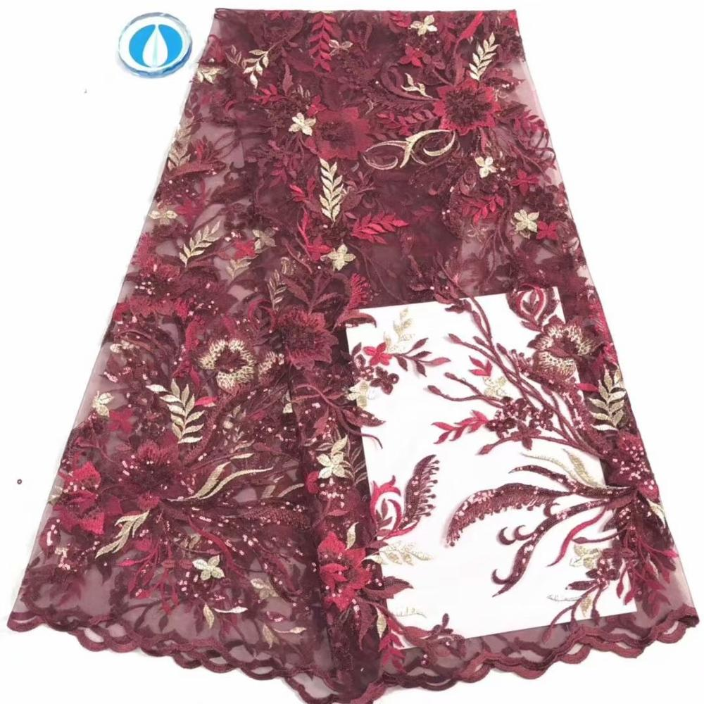 Cheap wine African Lace Fabric High Quality 5yards Nigerian Lace Fabrics Embroidery Tulle French Lace For Women Dress FD1217 image