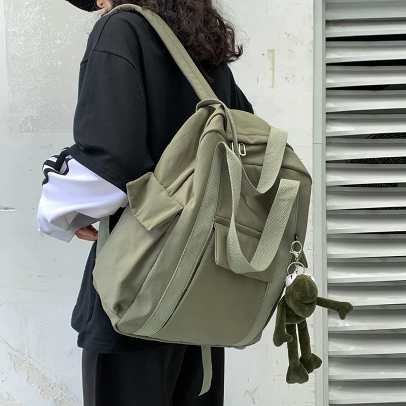 HOCODO New Solid Color Women'S Waterproof Nylon Backpack Simple School Bag For Teenage Girl Shoulder Travel Bag School Backpack